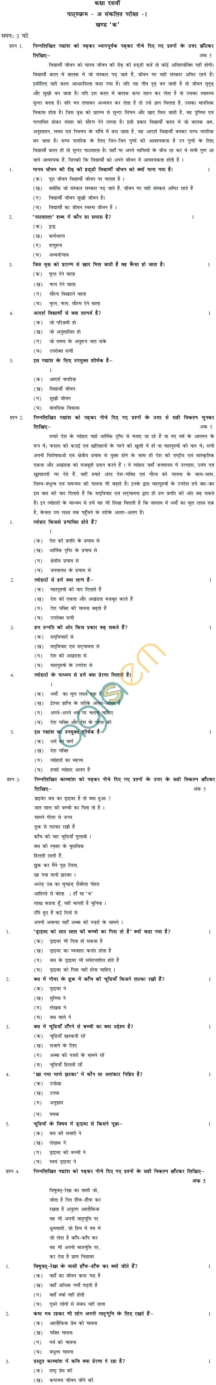 CBSE Board Exam 2013 Sample Papers (SA1) Class IX - Hindi A