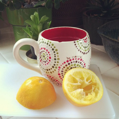 Sugar cleanse: juice of one lemon in hot water. Also I chipped my new dottery mug. :( But it still works! @bethanyactually