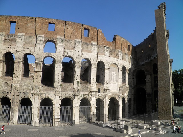 The exterior of the Colosseum, showing the partially intact outer wall (right) and the mostly intact inner wall (left), Colosseum (Amphitheatrum), Colosseum Valley, Rome