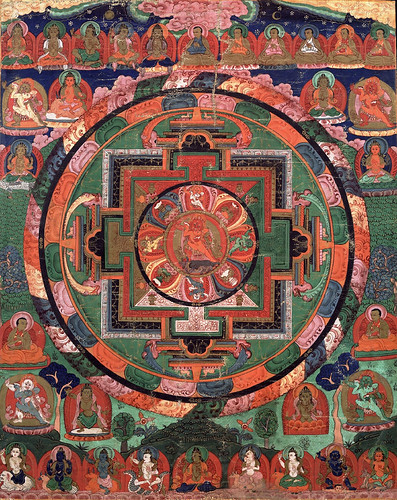 018-018-17th century Tibetan -Five Deity Mandala-in the center is Rakta Yamari embracing his consort Vajra Vetali,-Rubin Museum of Art by ayacata7
