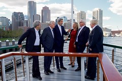 U.S. Secretary of State John Kerry speaks with his counterparts aboard the 'Northern Lights' as he hosts the Foreign Ministers from the United Kingdom, France, Germany, Italy, and the European Union for a cruise around Boston Harbor in Boston, Massachusetts, on September 24, 2016, amid a daylong series of meetings of the so-called Quintet in the Secretary's home-state of Massachusetts. [State Department photo/ Public Domain]