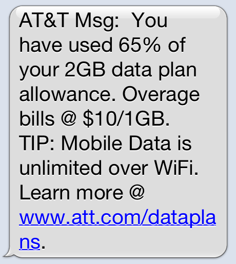 AT&T bandwidth warning text
