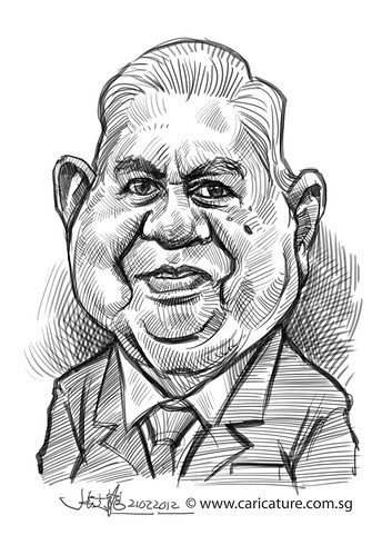 digital caricature sketch of sixth Singapore President S.R. Nathan