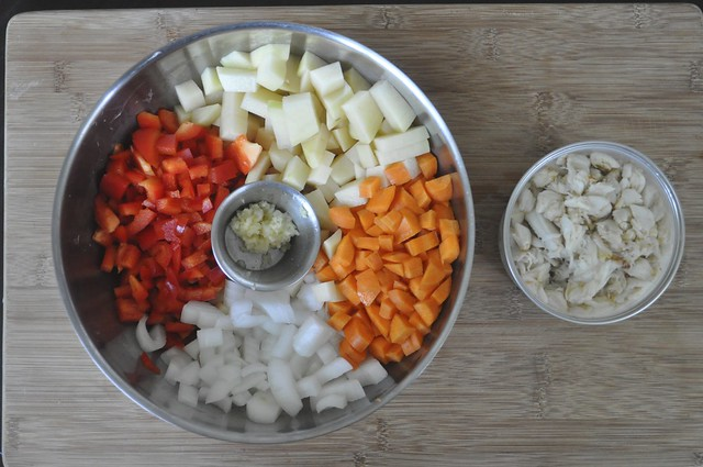 Mise en Place - Veggies for Cream of Crab and Saffron