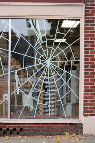 Masking tape spider web