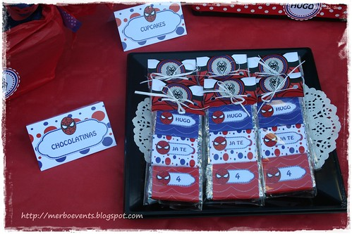 Chocolatinas1 Kit de fiesta spiderman. Merbo events
