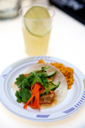 "Chef George Mendes of Aldea: Shrimp taco and Avión Tequila's ""Elevated Margarita"" (background)"