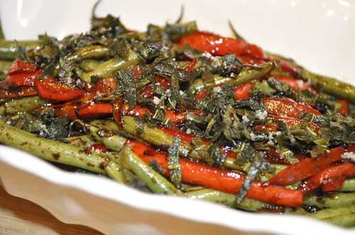 green beans with crispy sage feature