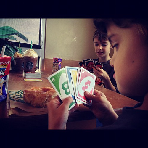 Uno & Starbucks with boys. #someofmyfavoritethings