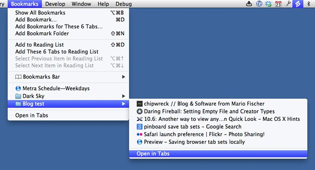 Open folder of tabs in Safari
