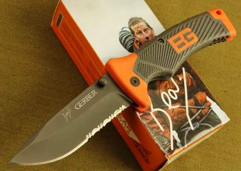 "Gerber 31-000752 Bear Grylls Folding Sheath Knife 3.6"" Combo Blade, Rubber Grip Handles"