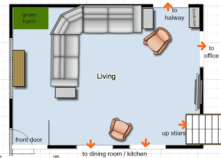 Help how should i decorate my living room wall andrea Birds eye view house plan