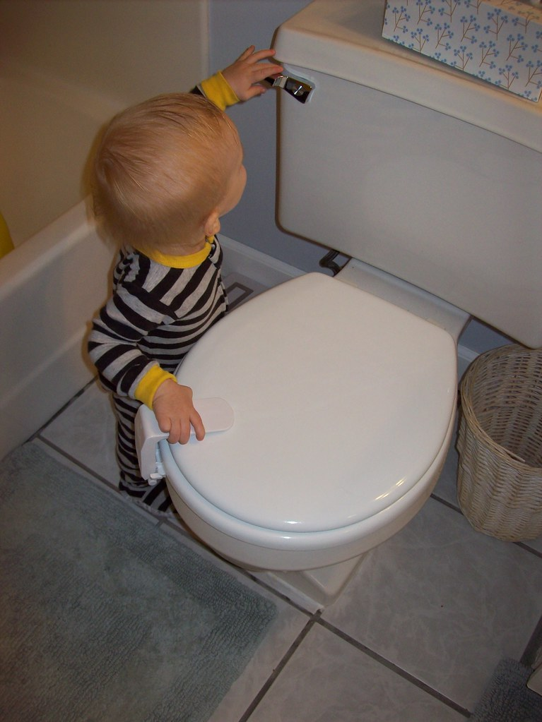 Henrik flushing the toilet.