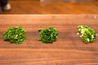 Chopped cilantro, parsley, and scallions