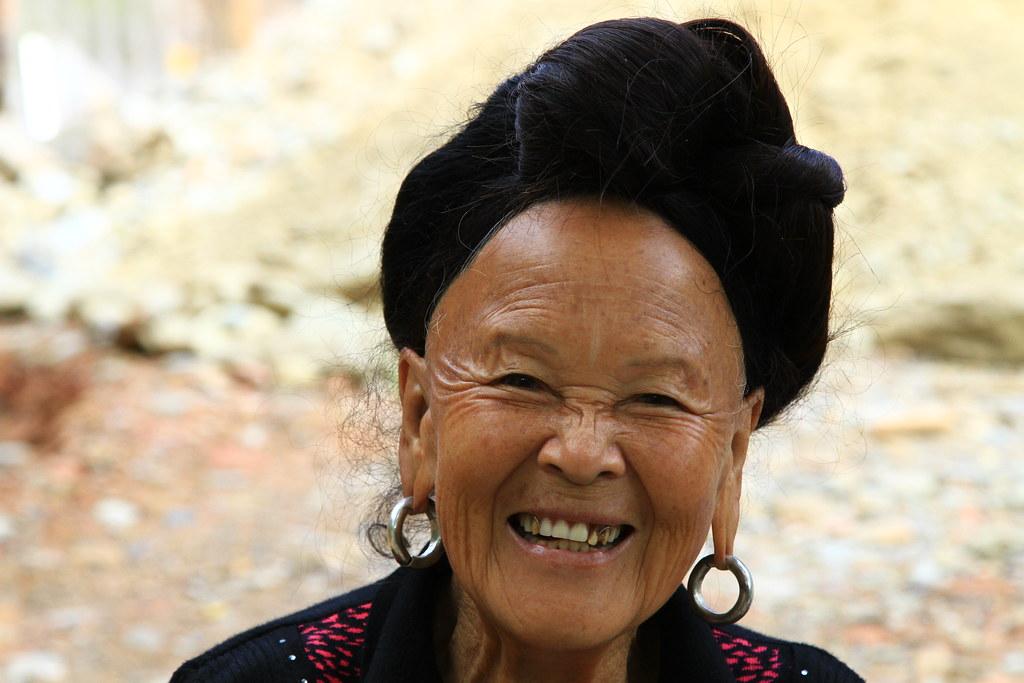 Portrait of a Yao woman in Dazhai, China.
