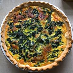 frittata(0.0), spanakopita(0.0), pie(1.0), vegetable(1.0), baked goods(1.0), zwiebelkuchen(1.0), produce(1.0), tart(1.0), food(1.0), dish(1.0), dessert(1.0), cuisine(1.0), quiche(1.0),