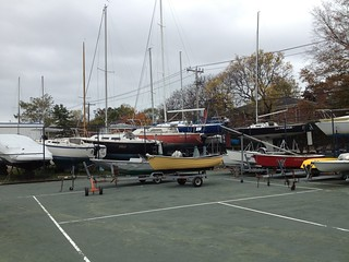 So many boats pulled, they're putting the little ones in the tennis court.