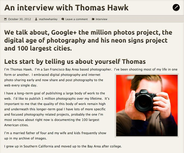 An Interview With Thomas Hawk