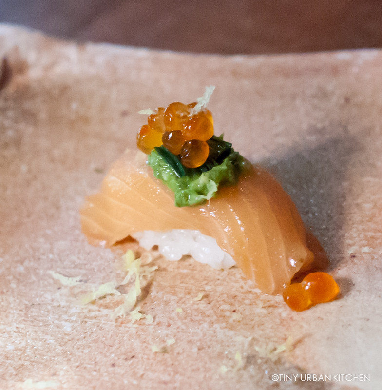 Wild Salmon, verte sauce, house pickled ramps, salmon roe