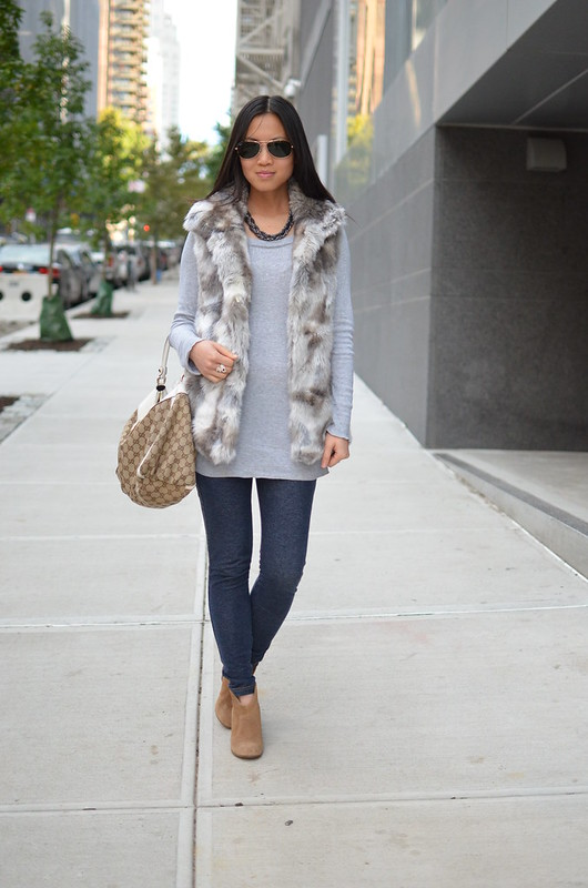faux fur vest styling with pants and booties