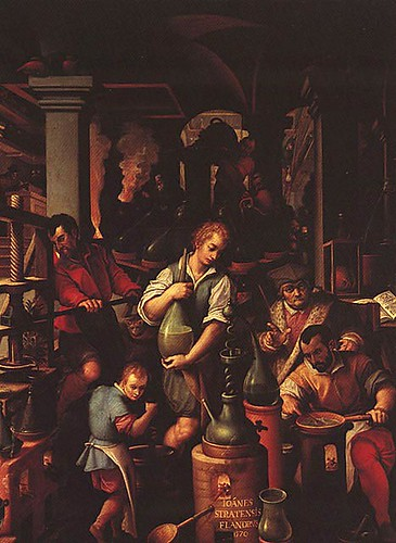 "Jan van der Straet's 1570  ""The Alchimist's Laboratory,"" painted for the Studiolo of Francesco de' Medici"