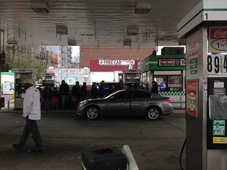 People lined up to buy gas in Sunnyside