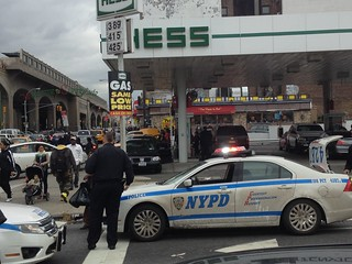 A fight broke out at a gas station line in Queens