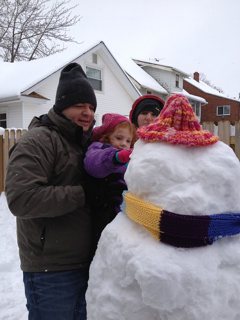 Building a snowman w our friends.
