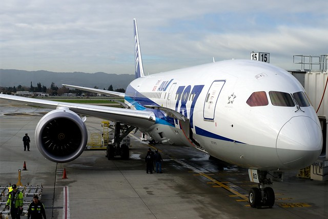 All Nippon Airways JA813A Boeing 787-8 Dreamliner at SJC for Inaugural Flight to Tokyo/NRT