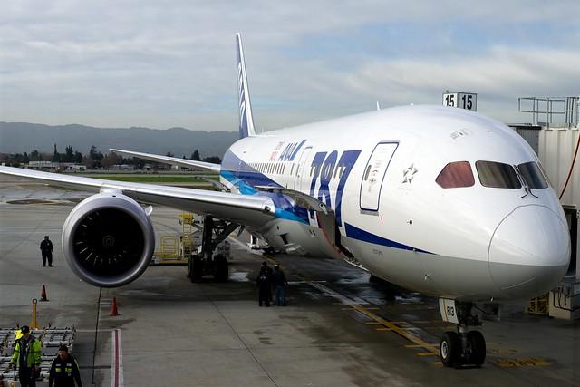 All Nippon Airways JA813A Boeing 787-8 Dreamliner at SJC for Inaugural Flight to Tokyo/NRT