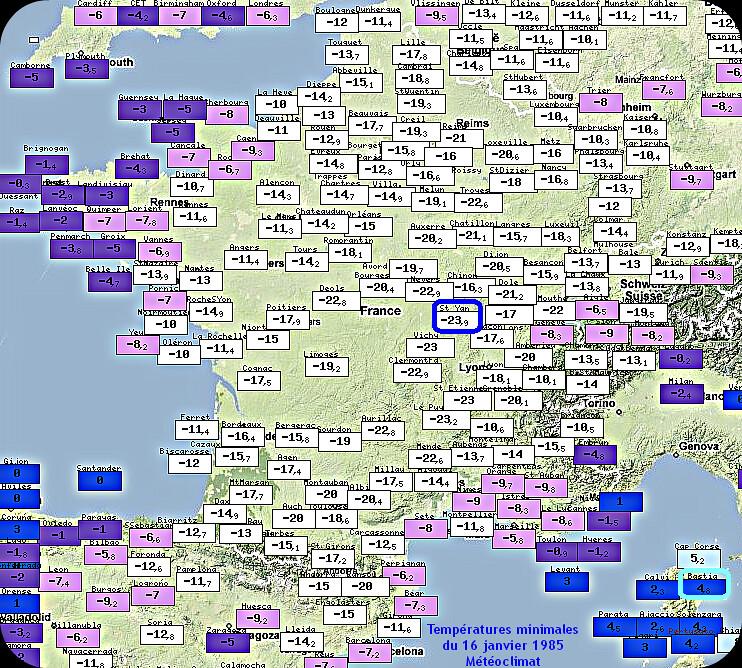 températures minimales glaciales et très fortes gelées le 16 janvier 1985 météopassion