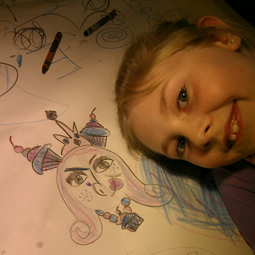 Annalie and her portrait of Lady Gaga.