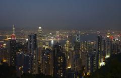 Panorama view of Hong Kong from Victoria's Peak at dusk (V)