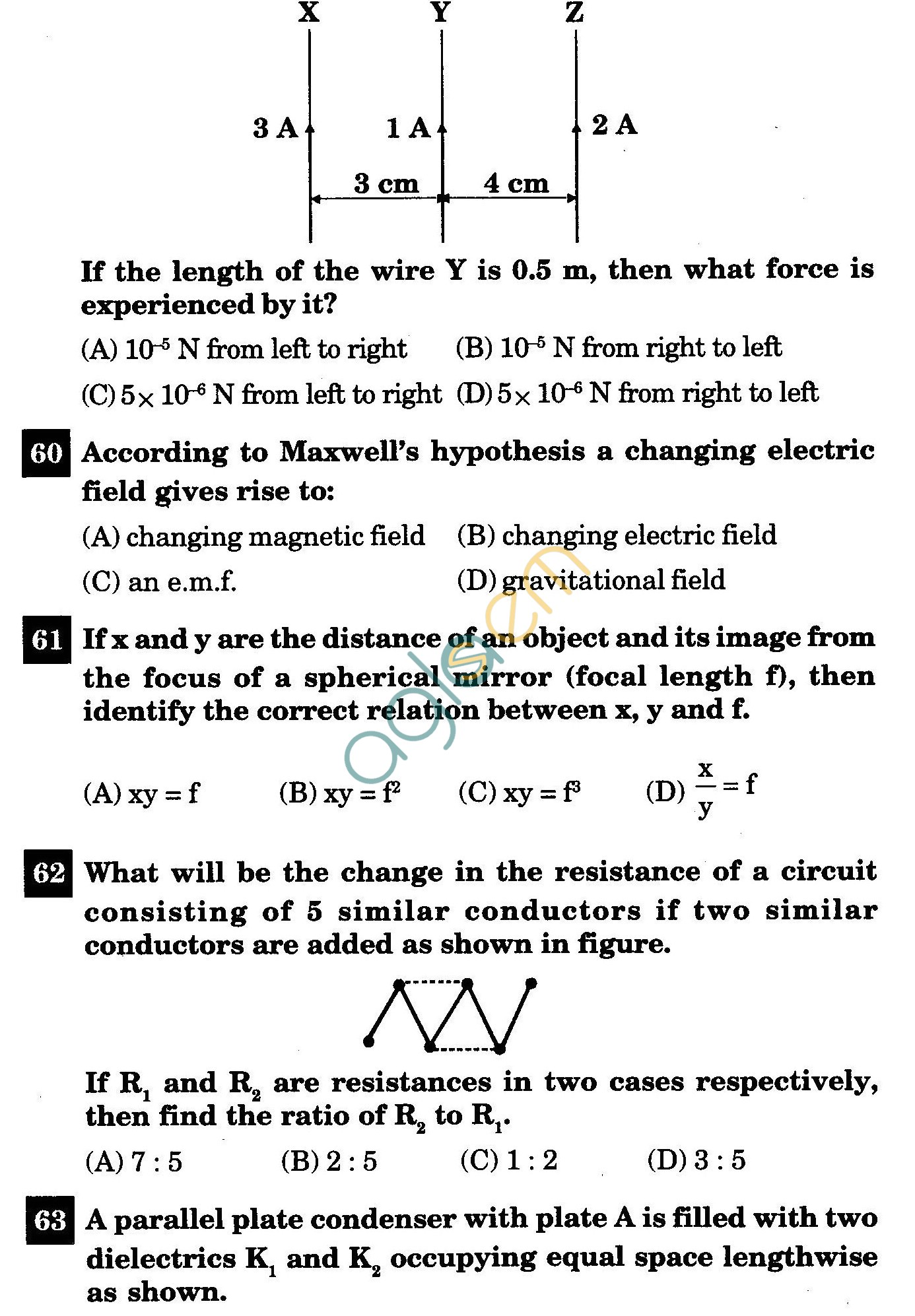 NSTSE 2011 Class XII PCM Question Paper with Answers - Physics