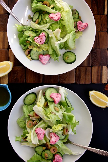 Green Salad with Pink Goat Cheese Hearts | Joy the Baker