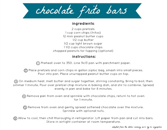 chocolate frito bars recipe card