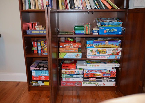 the new bookshelves- game storage