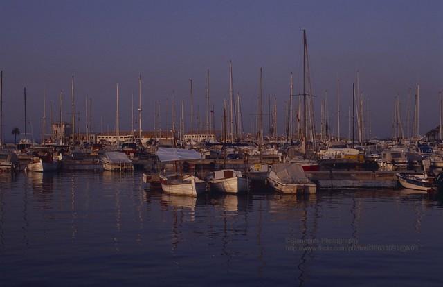 Mallorca, Puerto de Alcudia, Harbour at sunrise