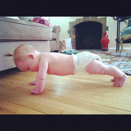 Lydia is doing her push ups again. Good form. #crazyaunt