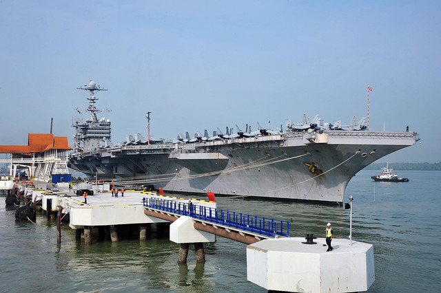 Aircraft carrier uss george washington sits at the pier in flickr