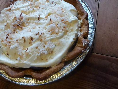 Double-Layer Chocolate Cream With Roasted Coconut, Topped W/Whipped Cream & Mexican Vanilla