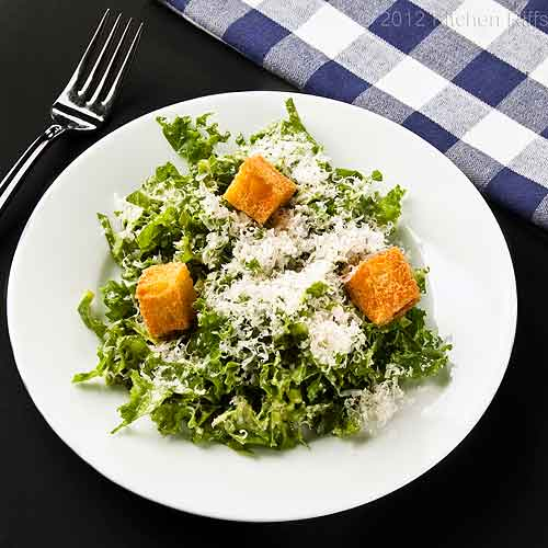 Chopped Kale Salad with Crouton Garnish