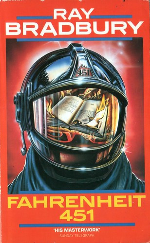 Fahrenheit 451 by Ray Bradbury. Grafton 1976. Cover artist Steve Crisp