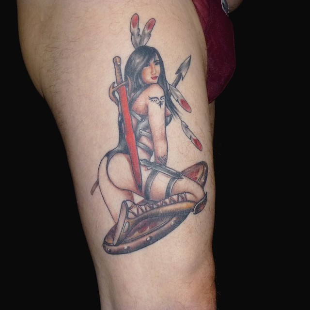 Female Indian Warrior, tattoo work by Erika Doyon of Montreal