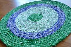 Green and Blue Crochet Rug