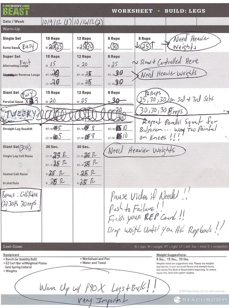 Team Beachbody RE HUGE BEAST Dedicated Republic Open to All – P90x Back and Biceps Worksheet