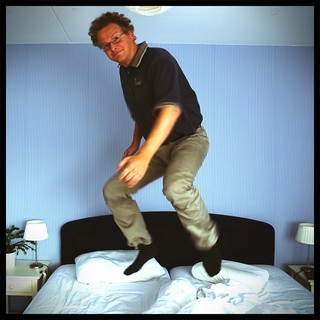 Me jumping on the bed (but not too high)