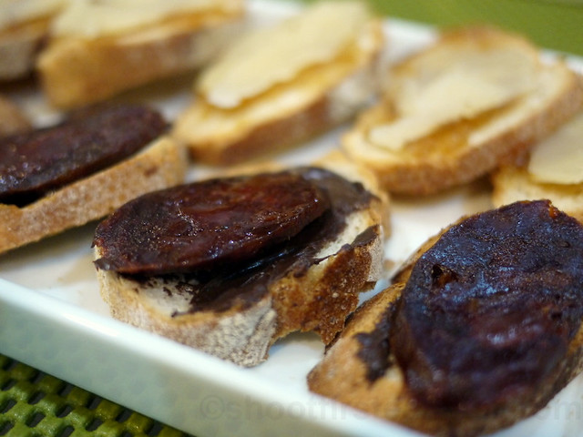 bread topped with chocolate spread & chorizo