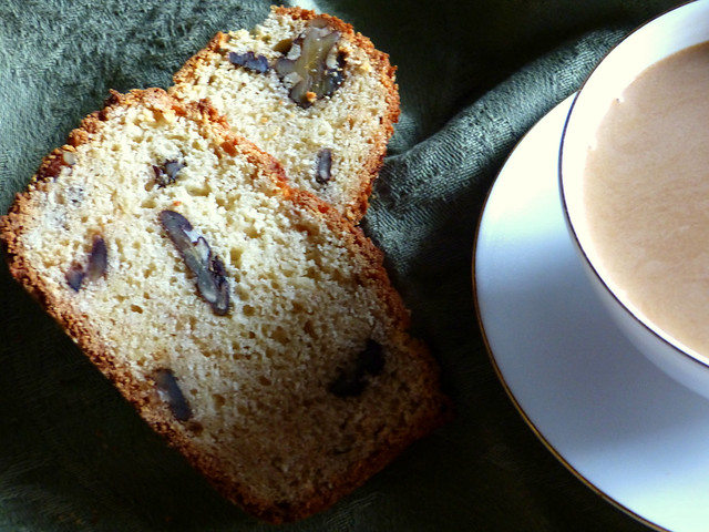 maple walnut bread and a cup of tea