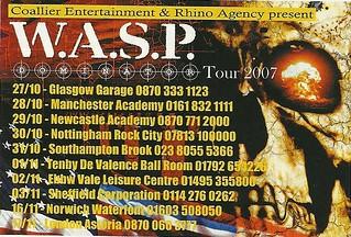 10/27/06 - 11/17/06 W.A.S.P. UK Tour